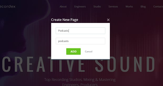 How to make a music website - new page