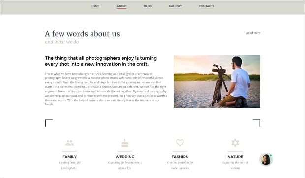 How to make a photography website - about page