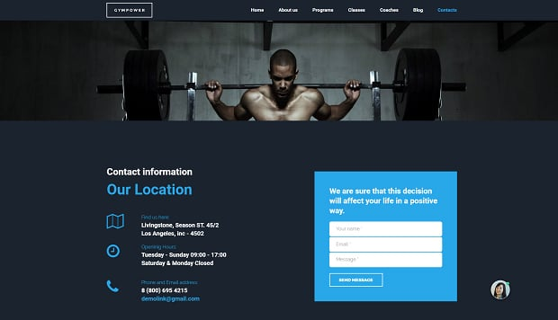 How to make a sports website - contacts