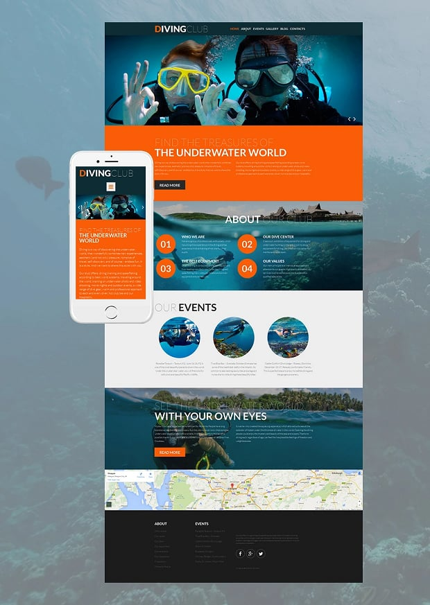 How to make a sports website - diving club