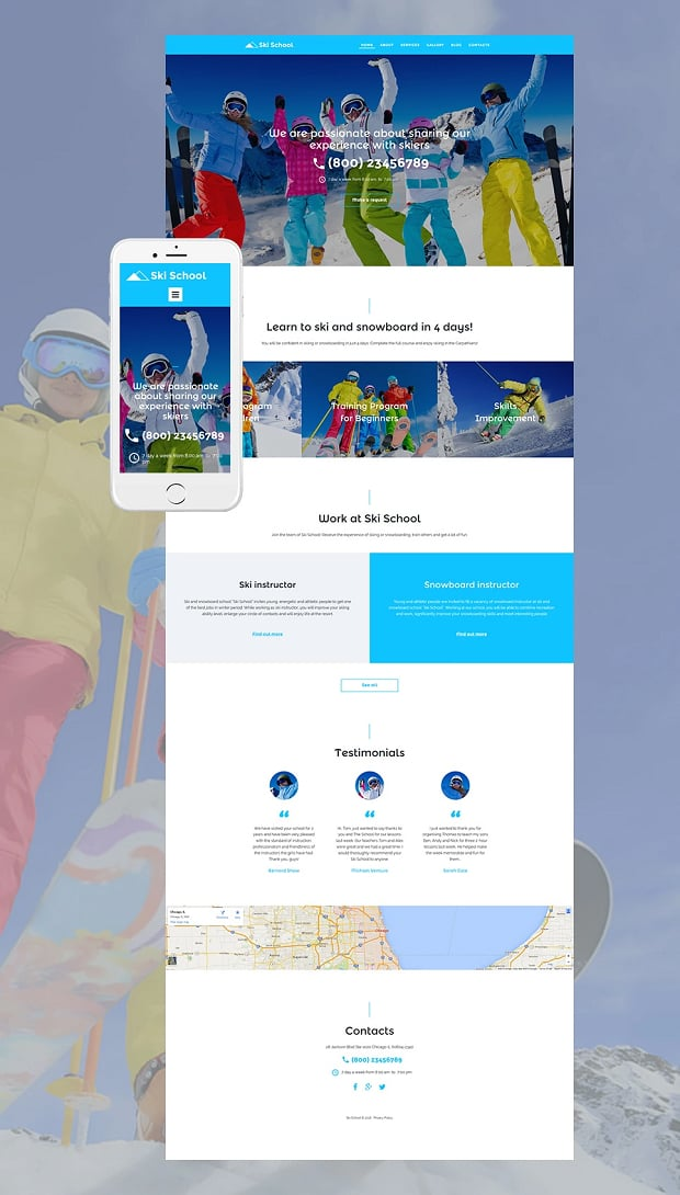 How to make a sports website - ski school