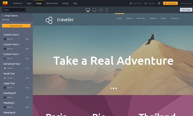 How to make a travel website - text styles