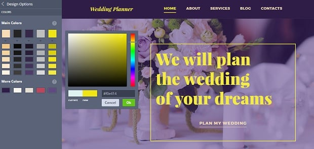 How to make a wedding website - color picker