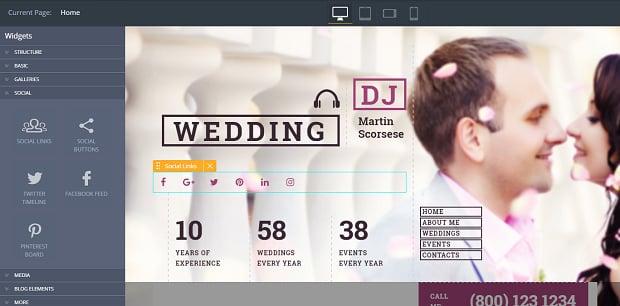 How to make a wedding website - social media