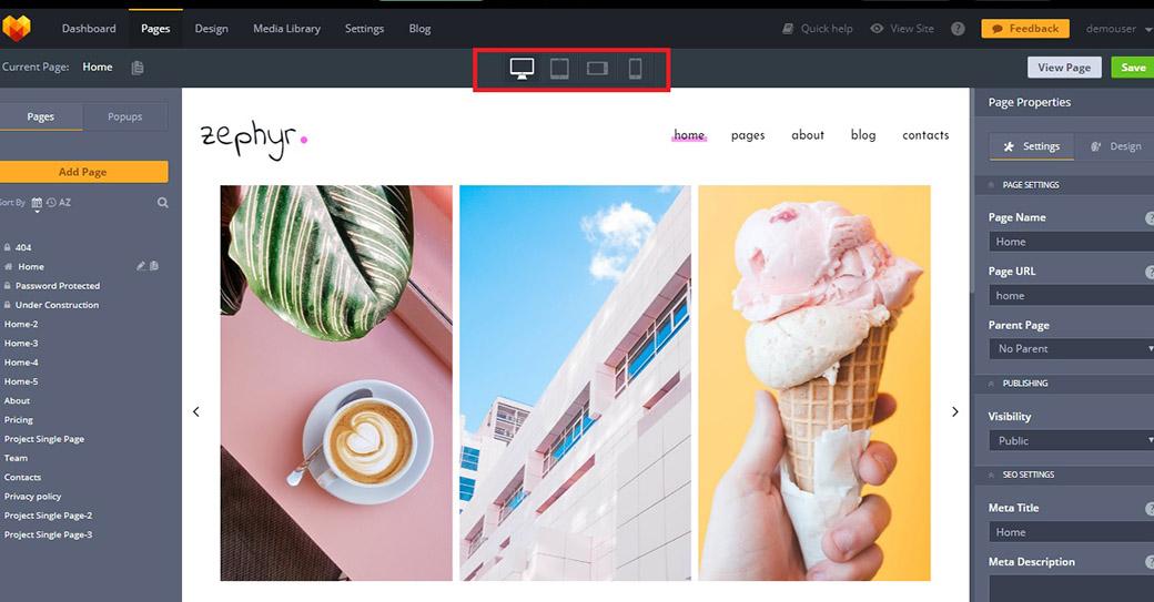 zephyr photography website template