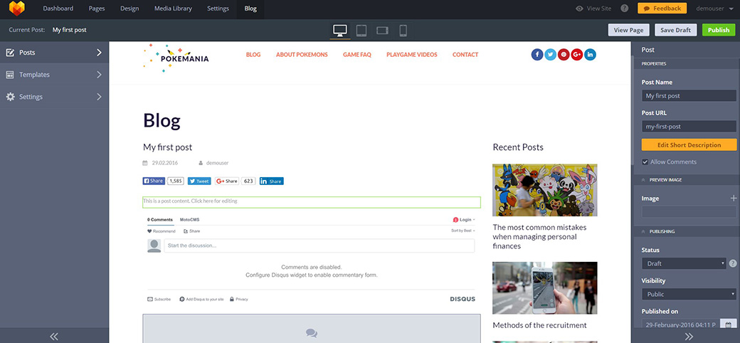 функционал блога в шаблоне MotoCMS