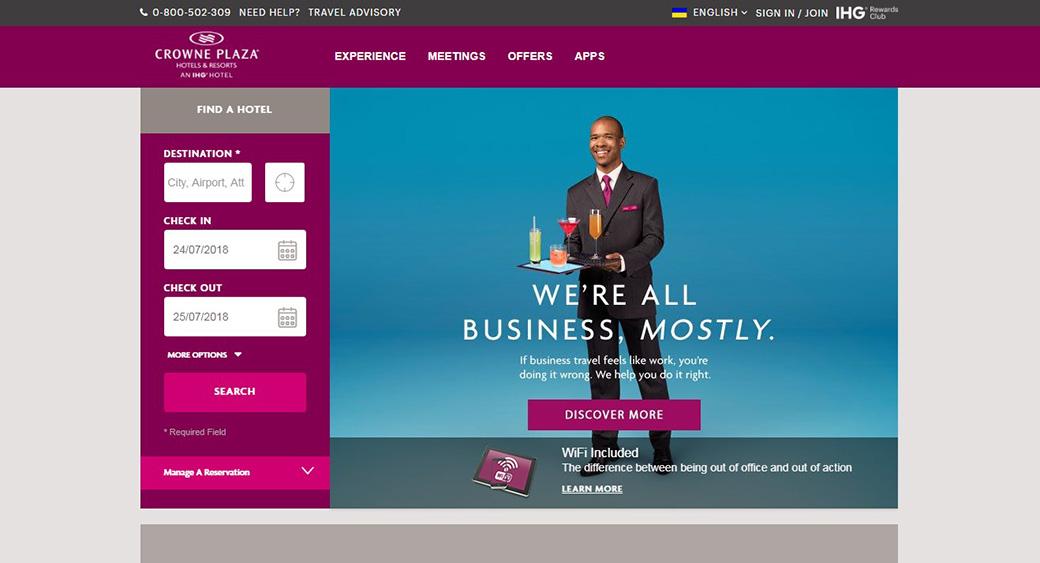 Сайт отеля Crowne Plaza Hotel изображение