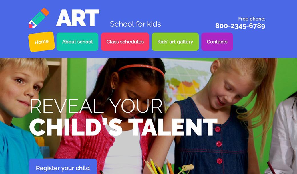 Шаблон для сайта детской художественной школы