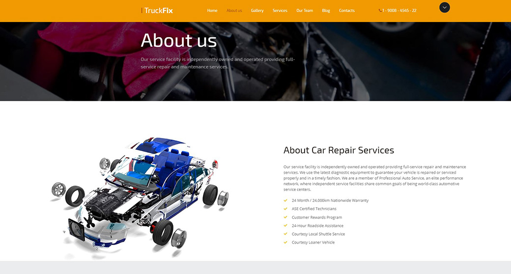 Car Repair Responsive Website Template About Page
