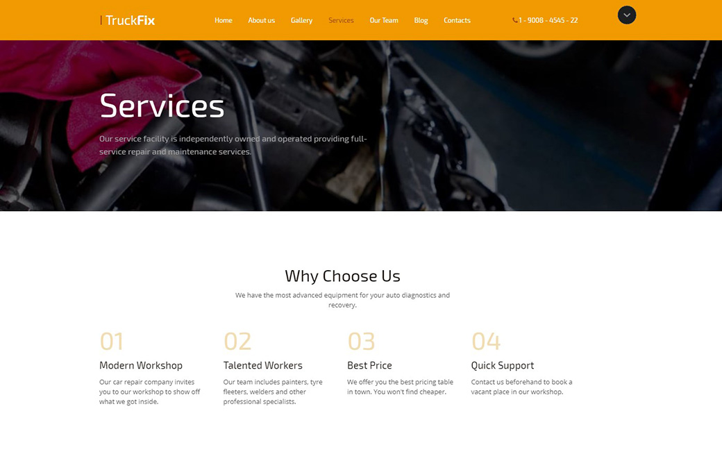 Car Repair Responsive Website Template Services