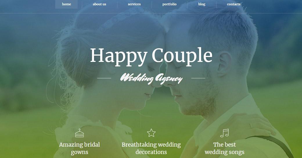Drag-and-Drop Template für eine Hochzeitswebsite