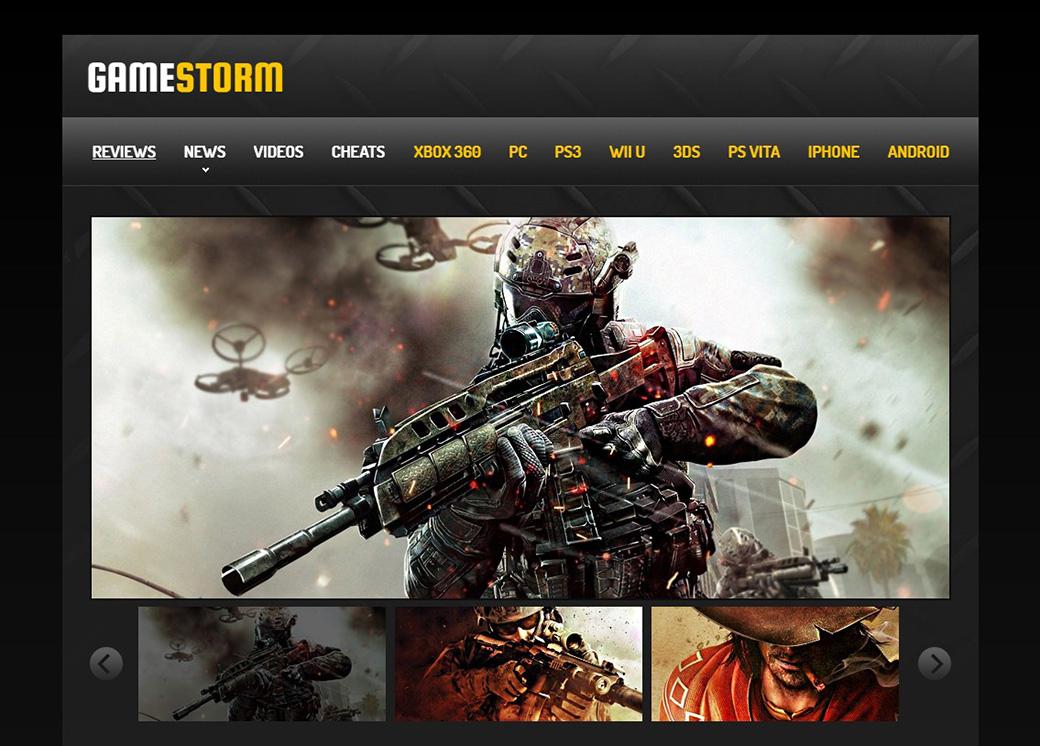 HTML шаблон сайта Game Storm