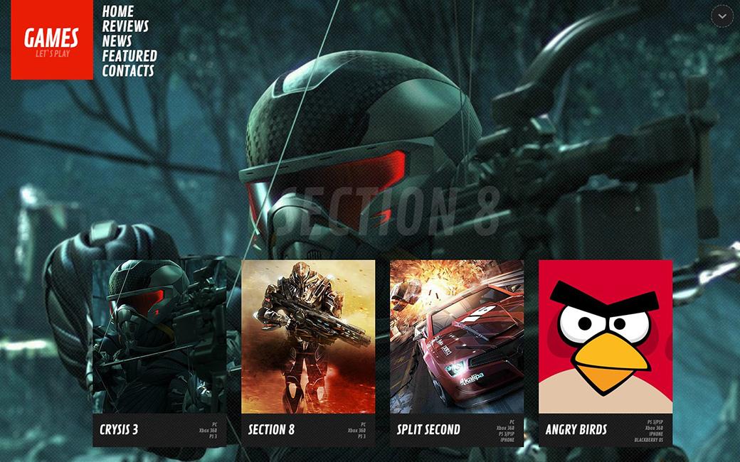 HTML шаблон сайта Games News