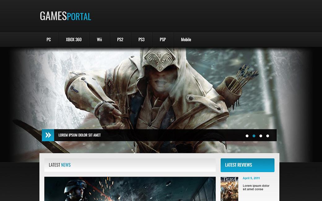 HTML шаблон сайта Games Portal