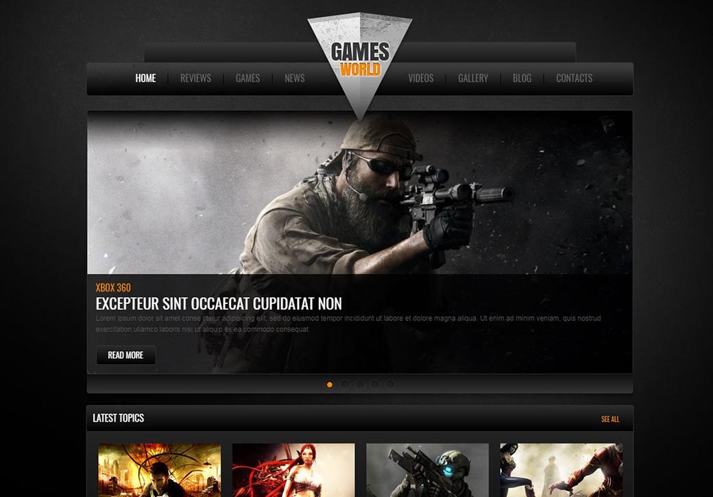 HTML шаблон сайта Games World