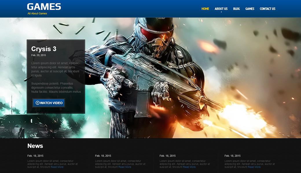 HTML шаблон сайта Games