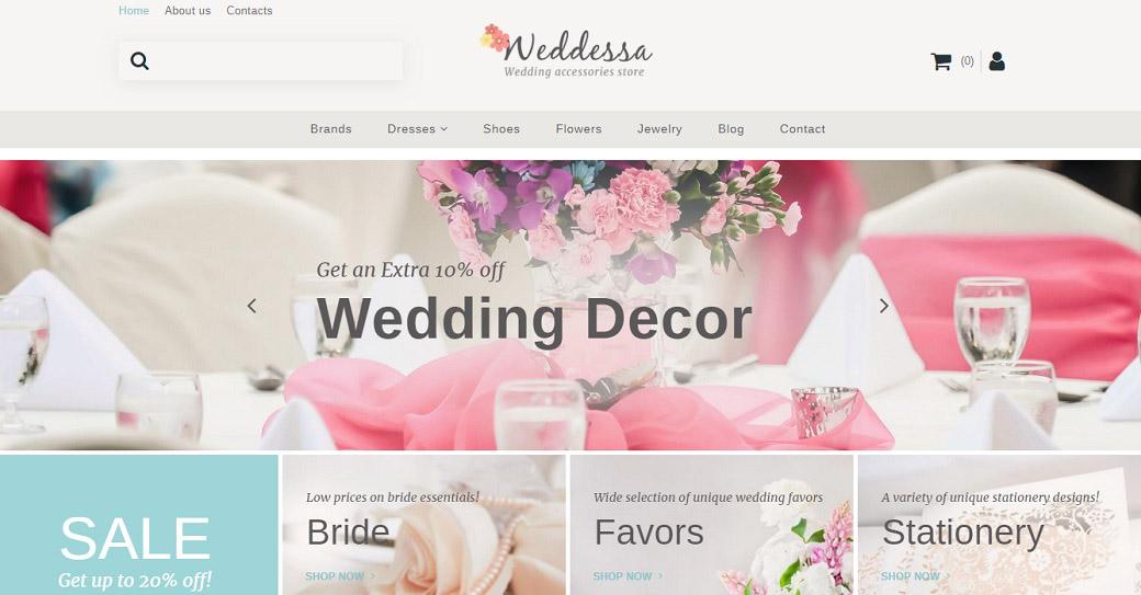 Website Template für einen Hochzeitsshop