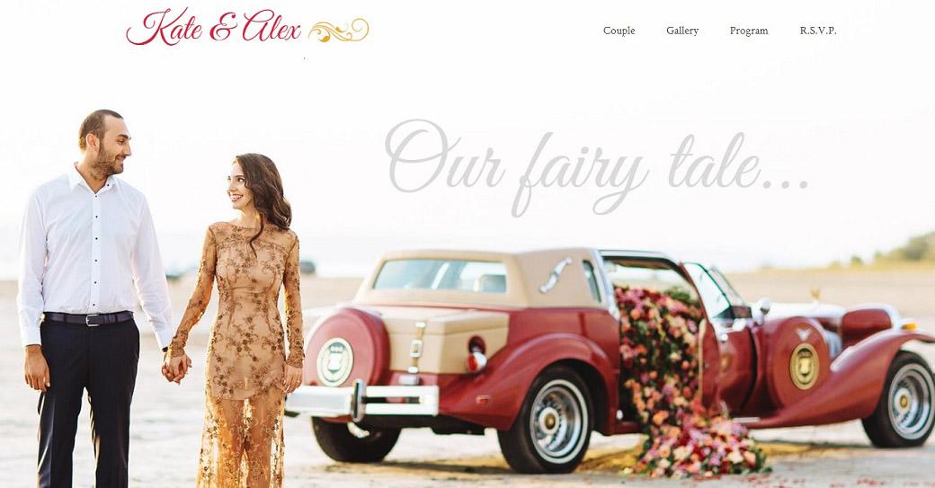 Funktionstüchtige Website Vorlage für einen Hochzeitsveranstalter