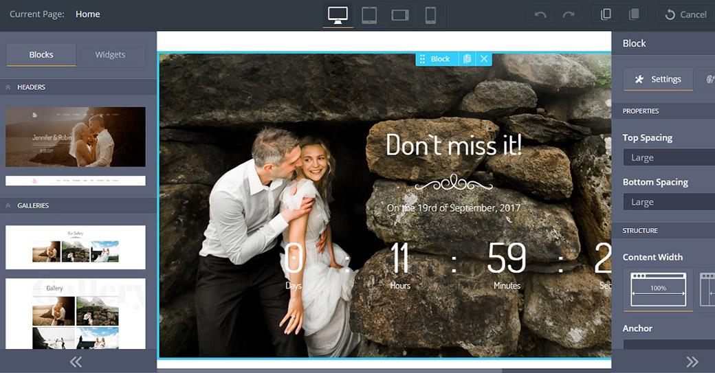 Hochzeitshomepage erstellen Website Vorlage für Hochzeitsplaner