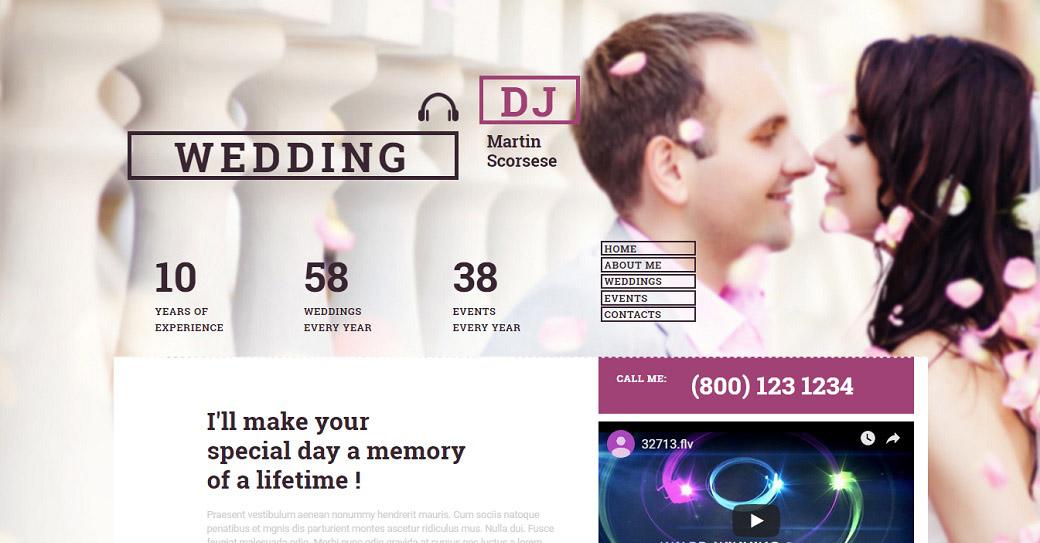 Drag-and-Drop Website Vorlage für einen Hochzeits-Dj