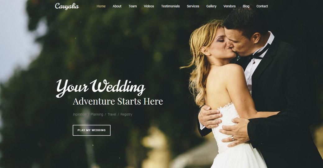 Responsive Website Vorlage für einen Hochzeitsveranstalter