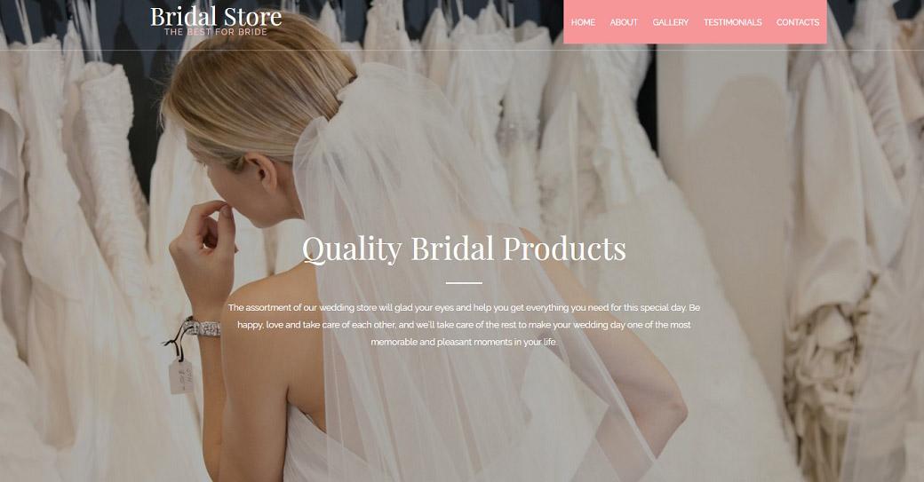 Hochzeitshomepage erstellen Website Vorlage für Brautmode