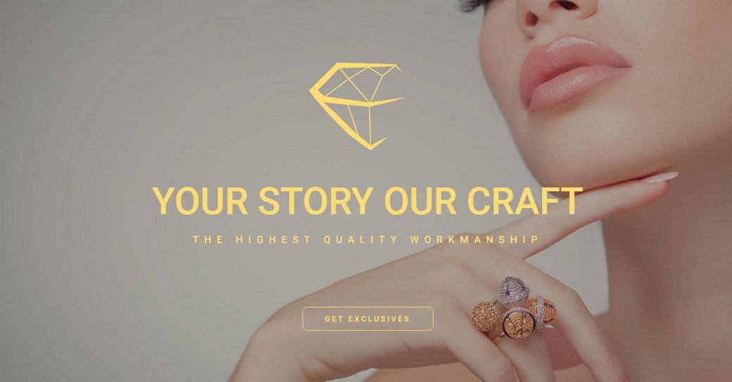Drag-and-Drop Website Vorlage für einen Schmuckshop