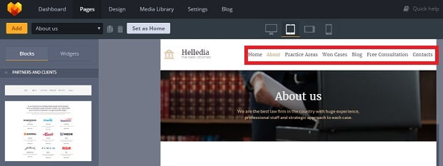 How to make a law website - menu