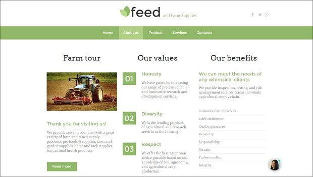 How to make an agriculture website - about us
