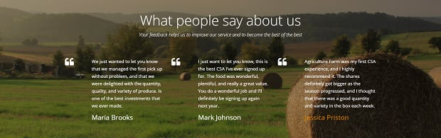 How to make an agriculture website - testimonials