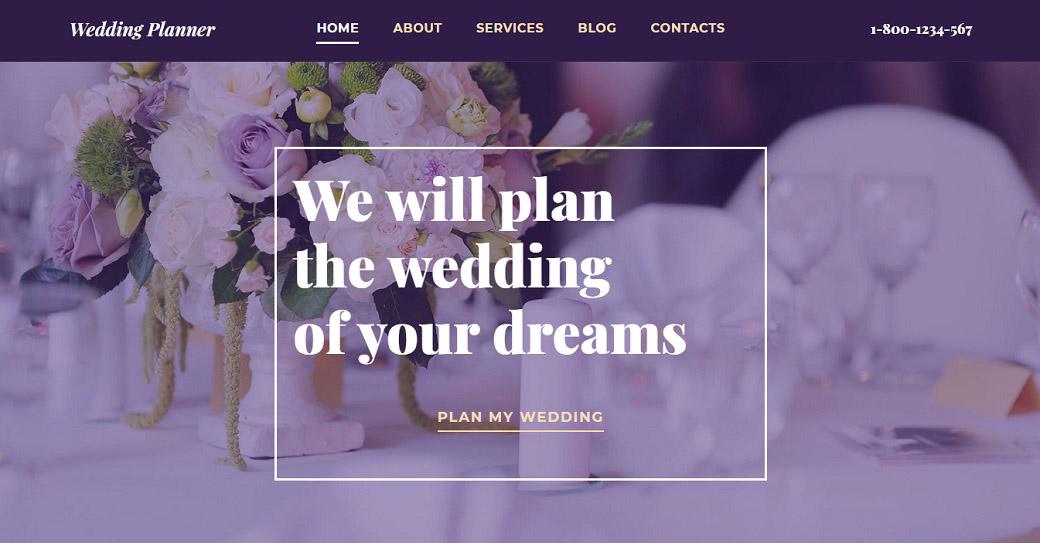 Website Template für einen Hochzeitsservice
