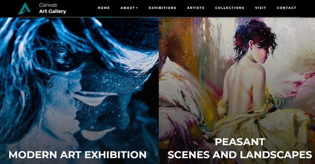 künstler portfolio website template für eine galerie
