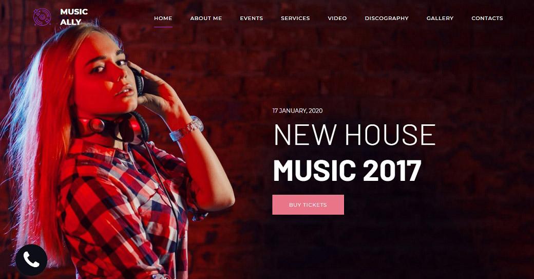 website template für einen dj
