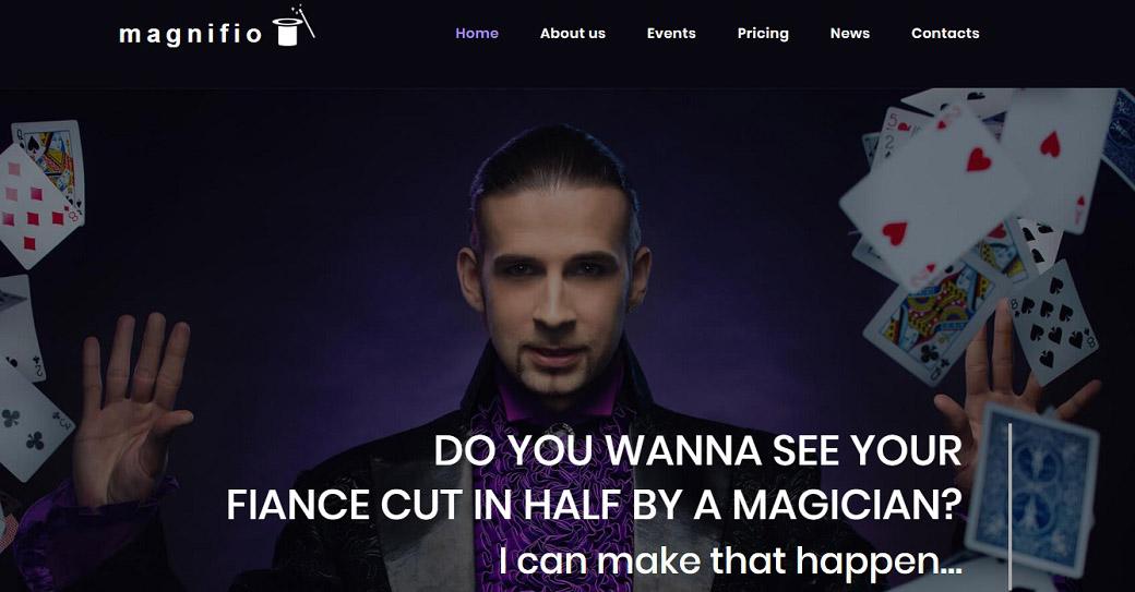 illusionist website vorlage für künstler portfolio