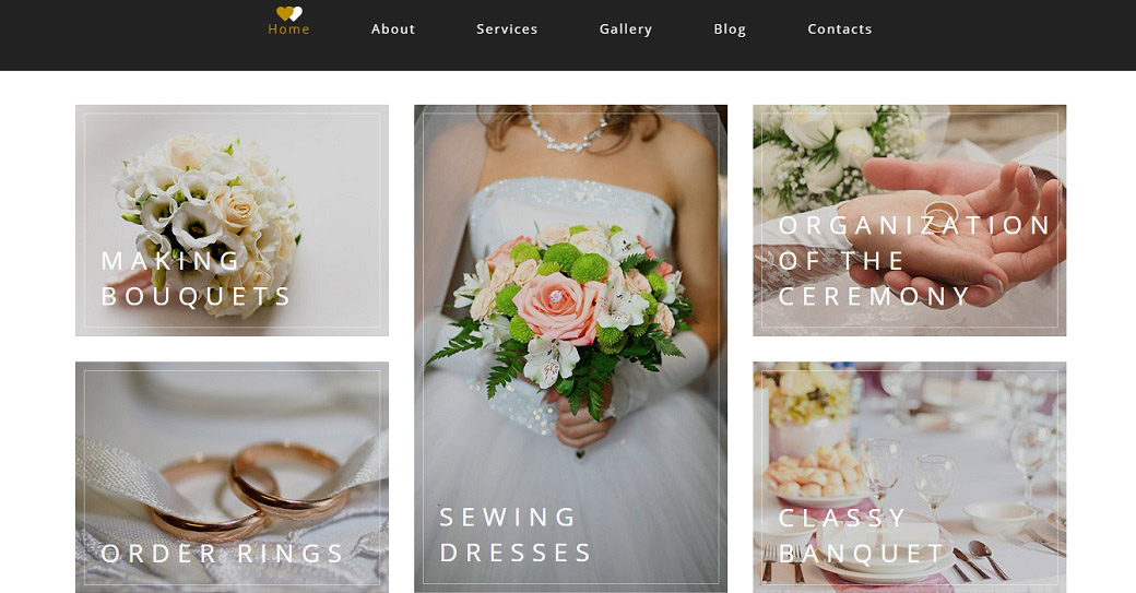 Drag-and-Drop Website Vorlage für einen Hochzeits-Catering