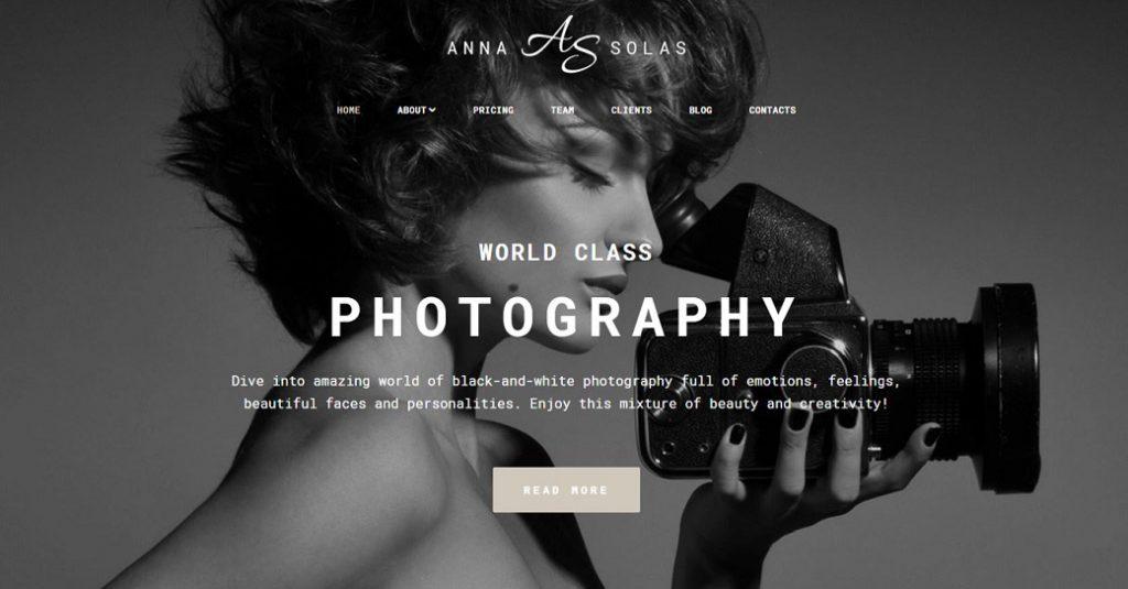 Fotografen Homepage erstellen Attraktive Website Vorlage für einen Fotoservice