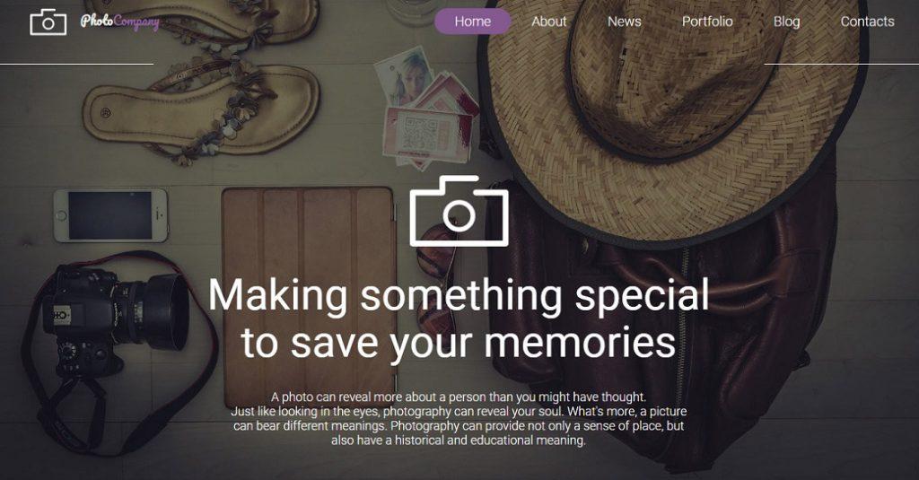 Responsive Homepage Vorlage für ein Fotostudio