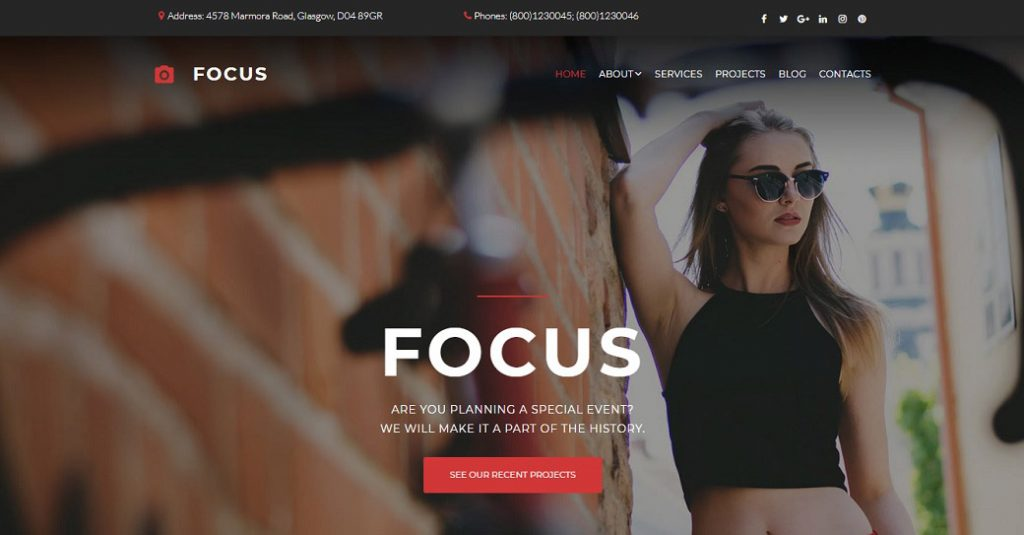Modernes Template für eine Fotografen Website
