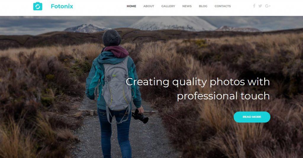 Moderne Homepage Vorlage für eine Fotografie Website
