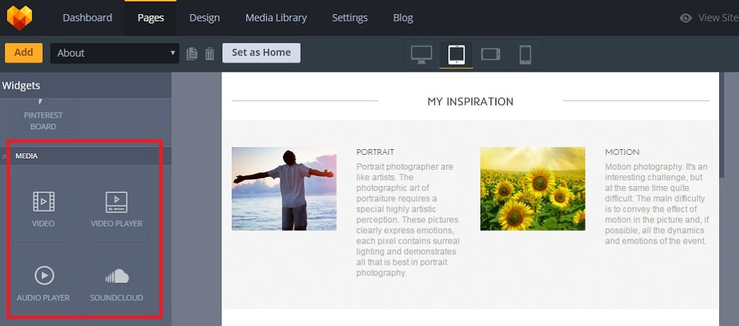 How to make a personal pages website - media widgets