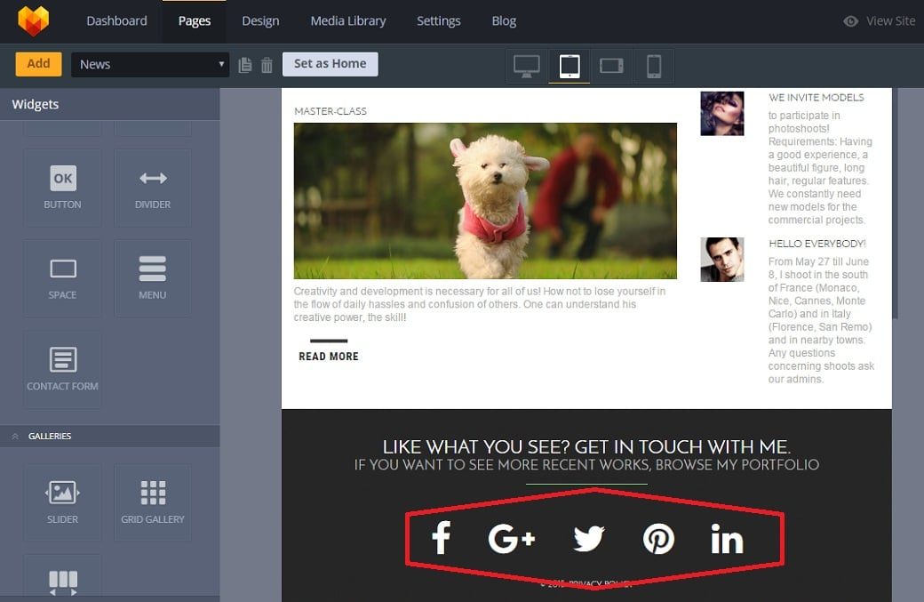 How to make a personal pages website - social footer