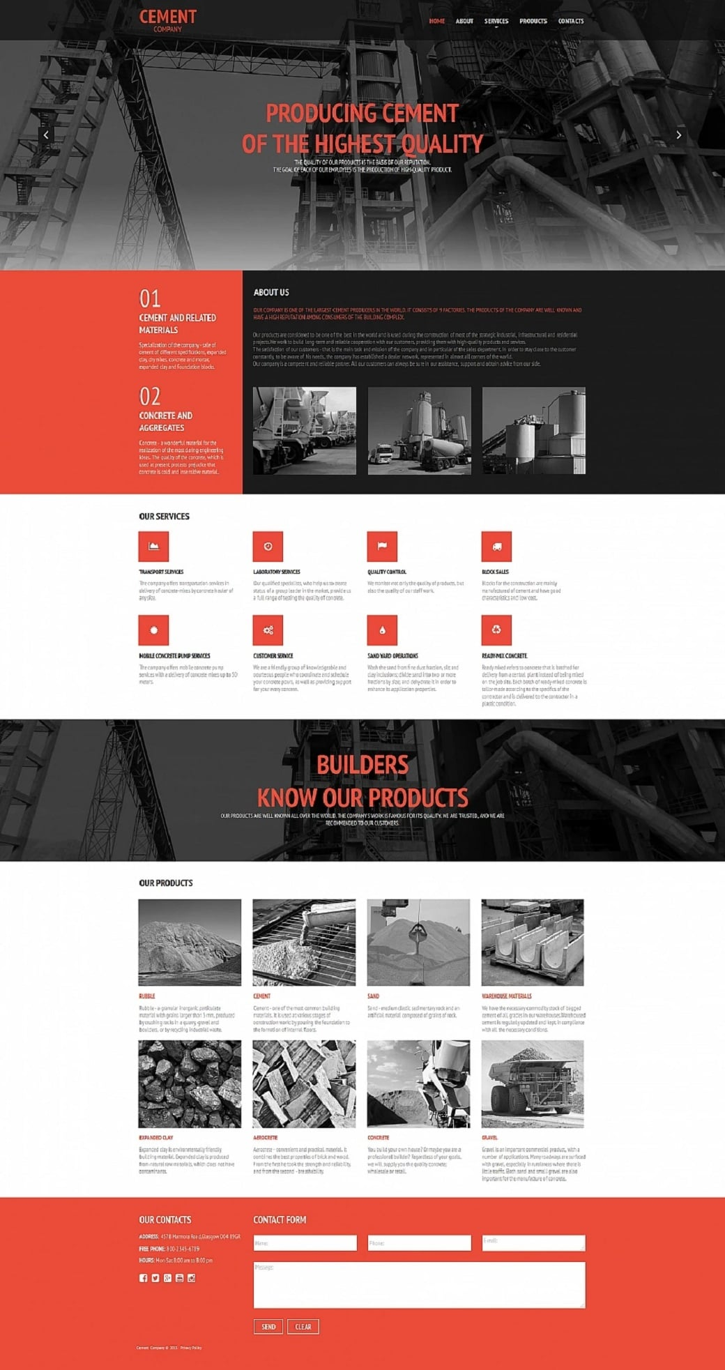How to make an industrial website - cement company