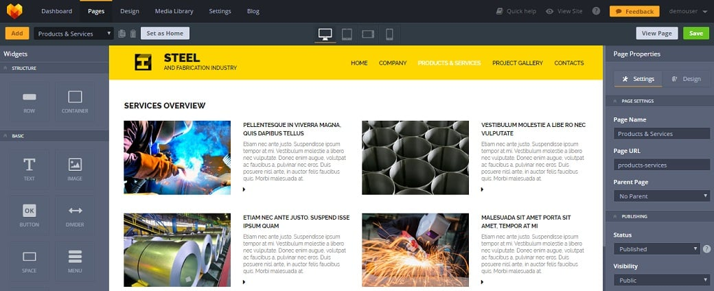 How to make an industrial website - services list