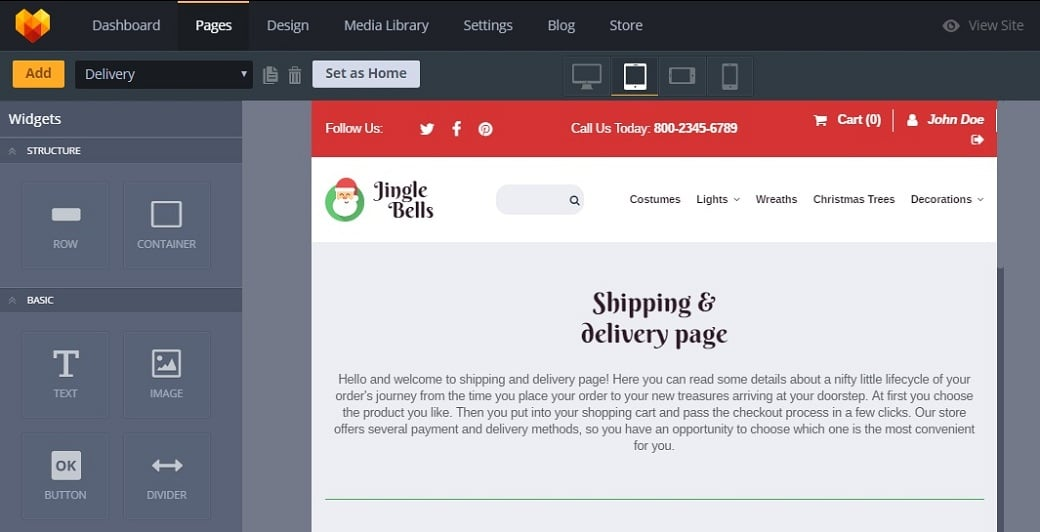 How to make a gifts website - delivery page