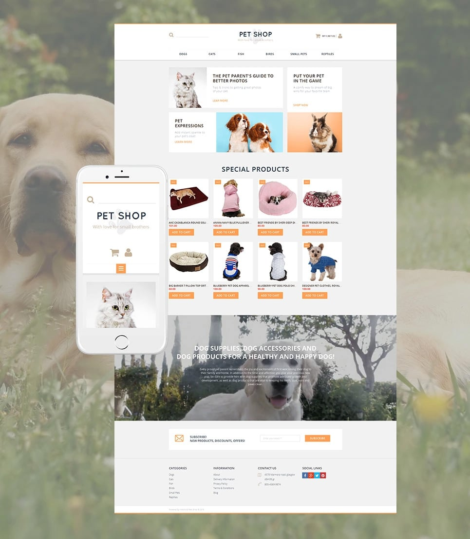 How to make a pet website - pet shop