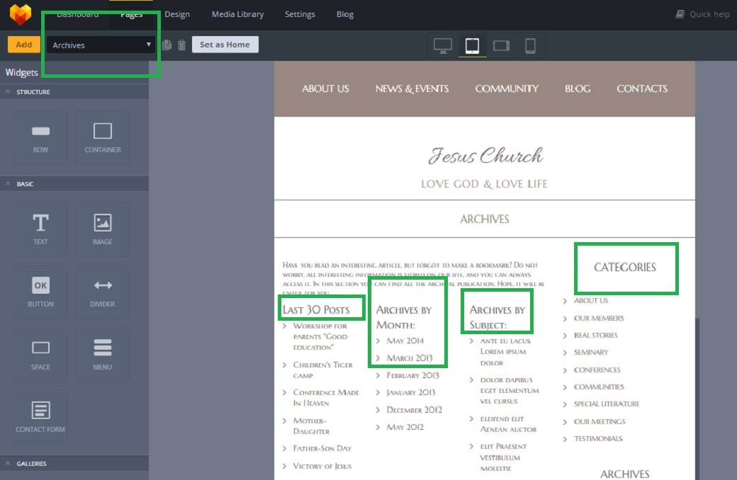 How to make a religious website - archives