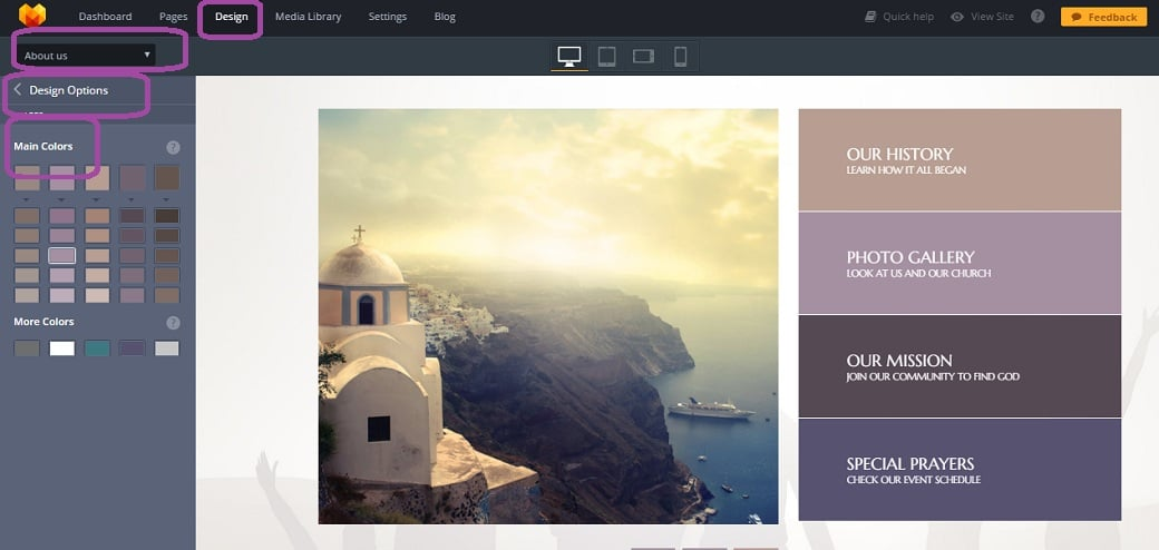 How to make a religious website - color picker after