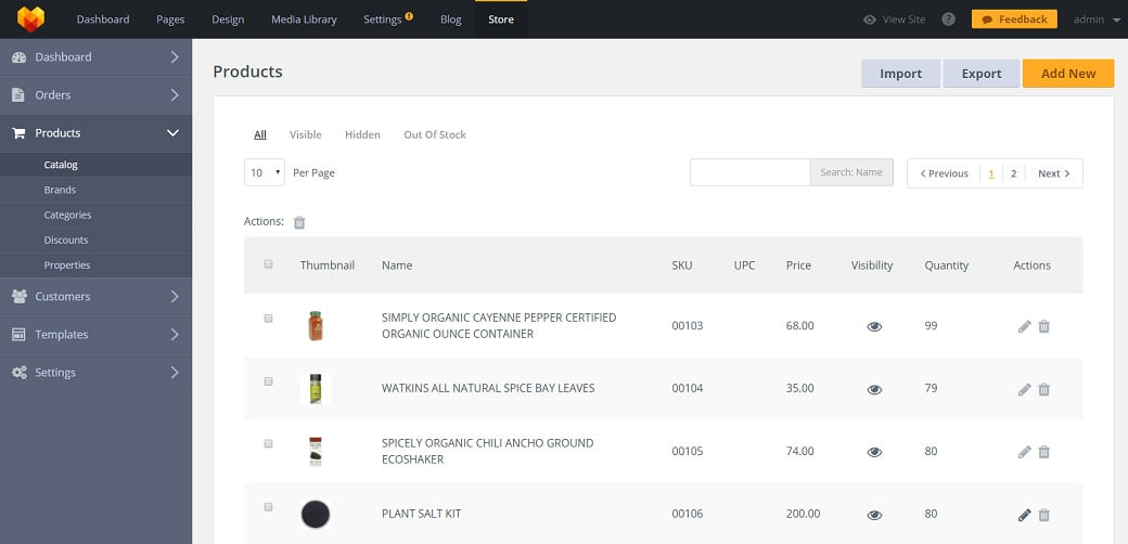 MotoCMS eCommerce Update 1.2.9 - product catalog
