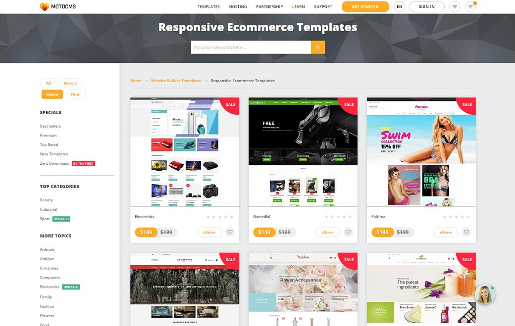 MotoCMS eCommerce Update 1.2.9 - templates