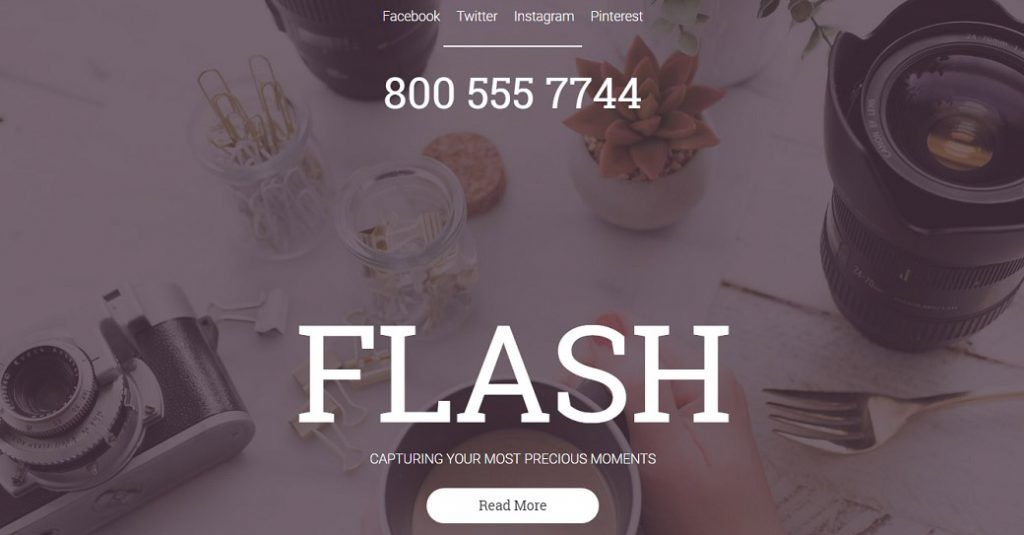 Kreatives Template für eine Fotografen Website